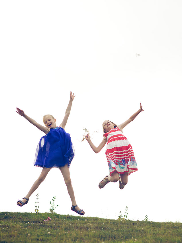 Girls jumping for joy!
